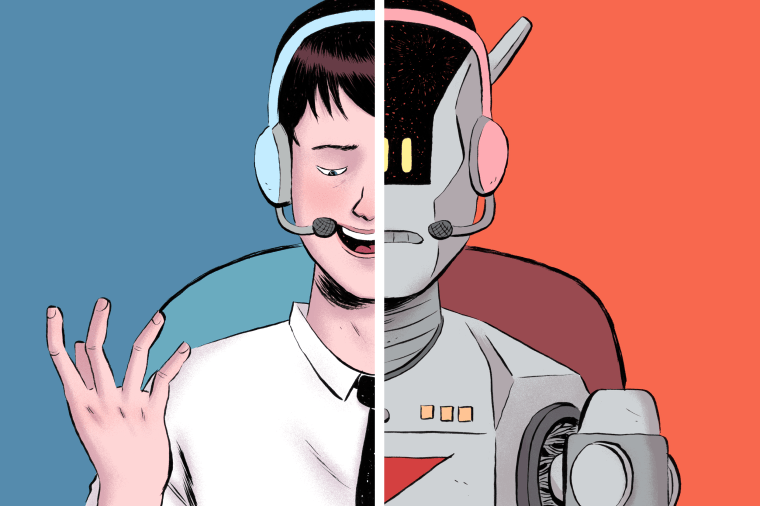 Illustration of a split panel telemarketers and a robot robocaller making calls