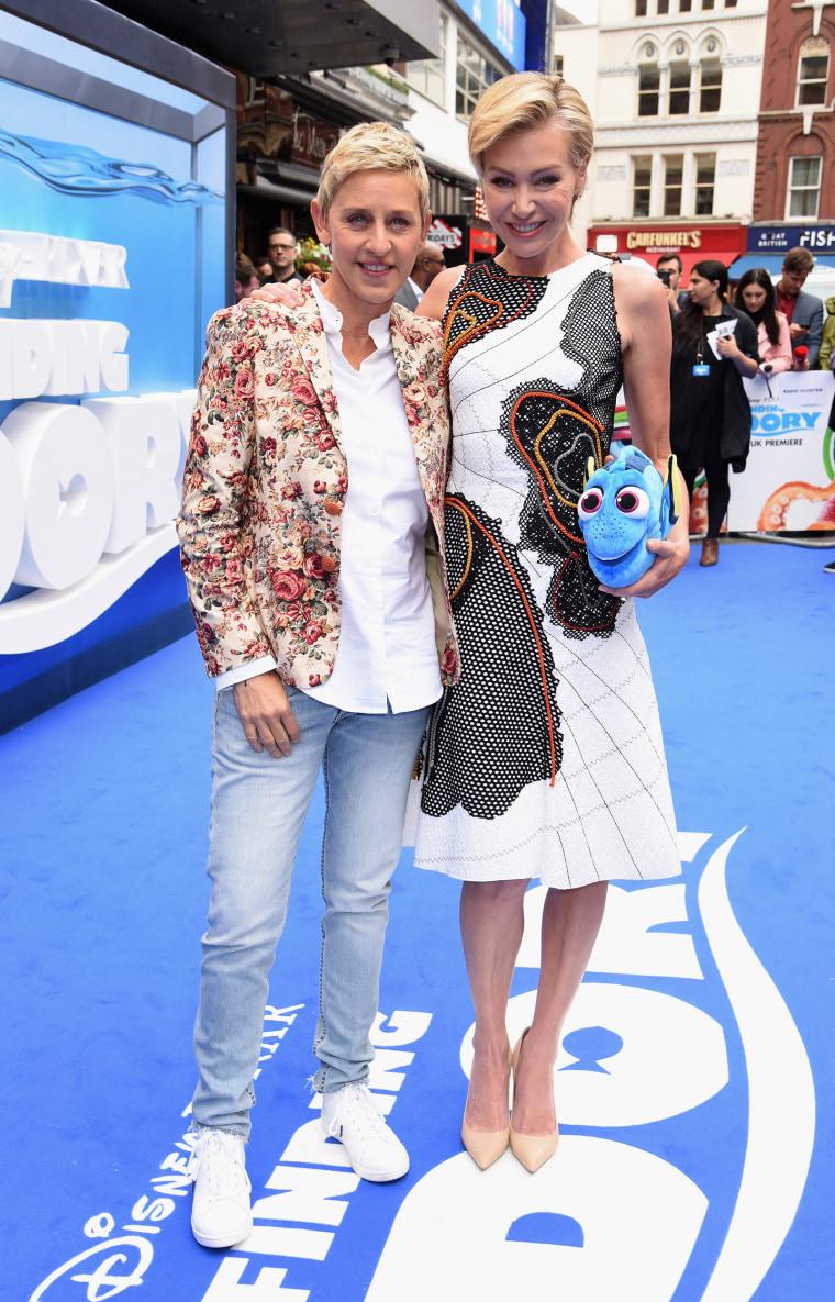 """Ellen DeGeneres and Portia de Rossi at """"Finding Dory"""" U.K. premiere"""