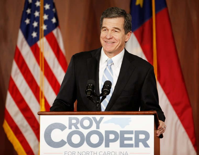 Image: North Carolina Governor-elect Roy Cooper speaks to supporters at a victory rally in Raleigh