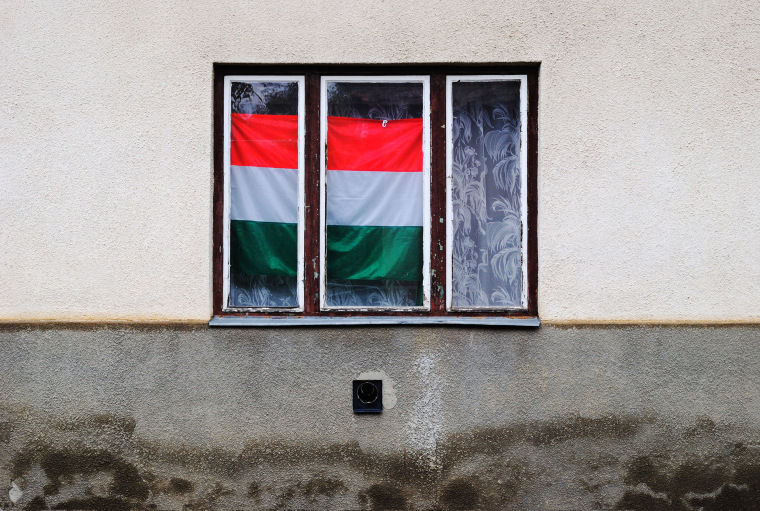 Image: Hungarian national flag in a window