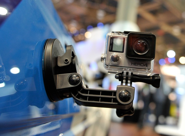 Newest A GoPro Hero 4 camera at the 2015 International CES at the Las Vegas Convention Center in 2015.
