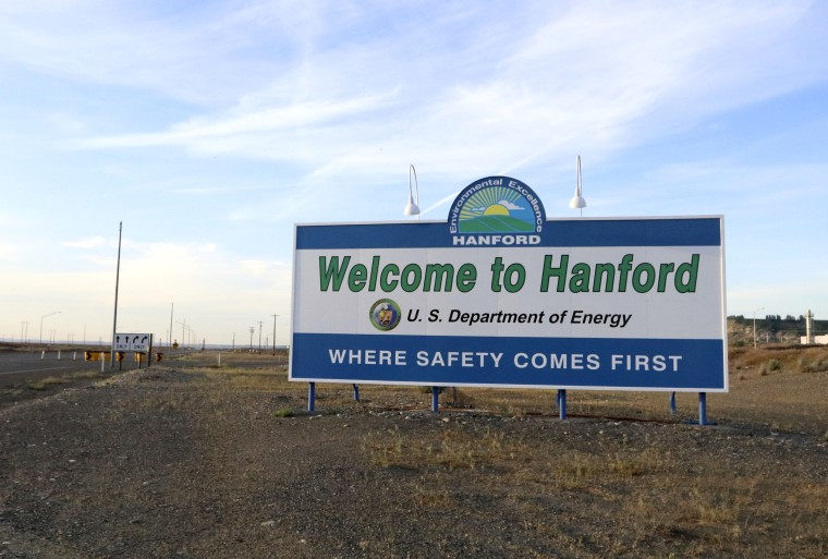 Image: A sign welcomes drivers to Handford Nuclear Reservation in Richland, Washington, in May 2017.