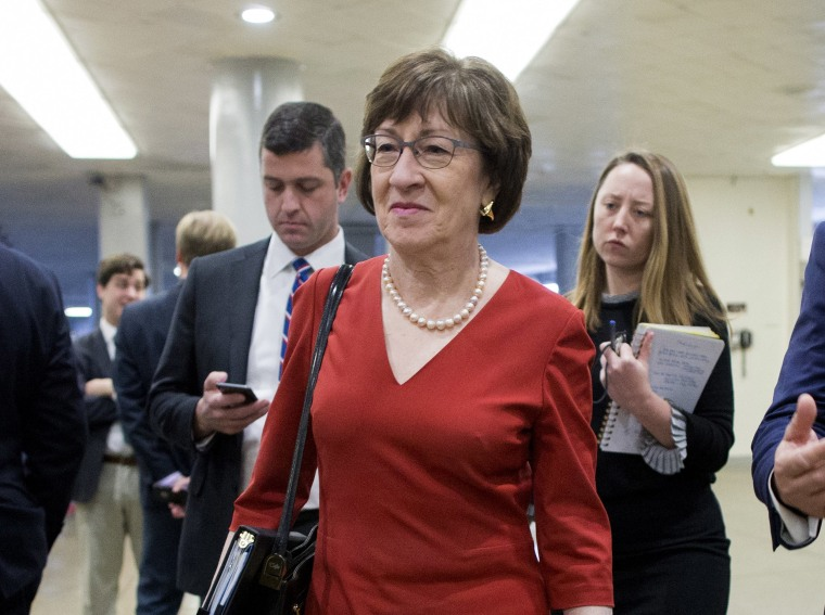 Image: Susan Collins at the Senate subway before a Senate vote on Capitol Hill