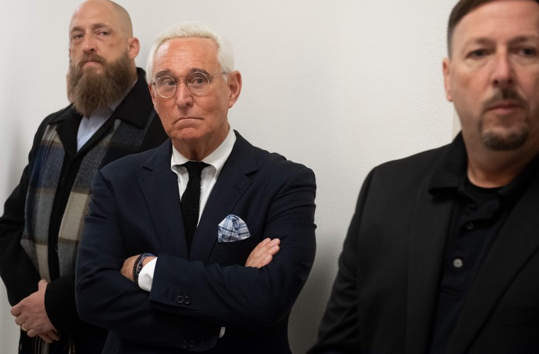 Image: Political Strategist Roger Stone stands outside the hearing room prior to testimony by Google CEO Sundar Pichai