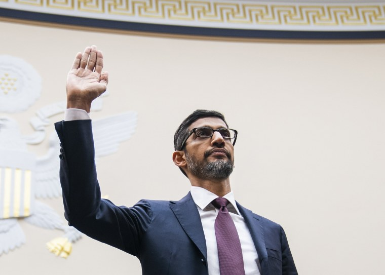 Google CEO Sundar Pichai is sworn in before testifying in front of a House Judiciary Committee hearing on Capitol Hill