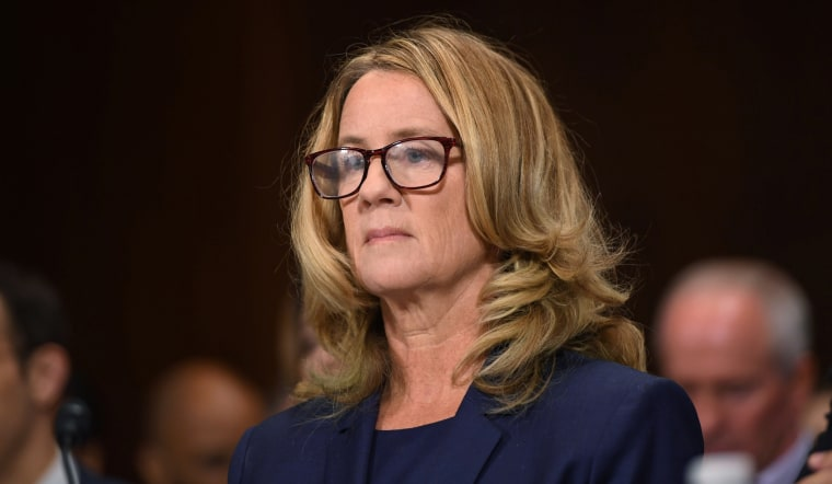 Christine Blasey Ford testifies at a Senate Judiciary Committee confirmation hearing for nominee Brett Kavanaugh on Sept. 27, 2018.