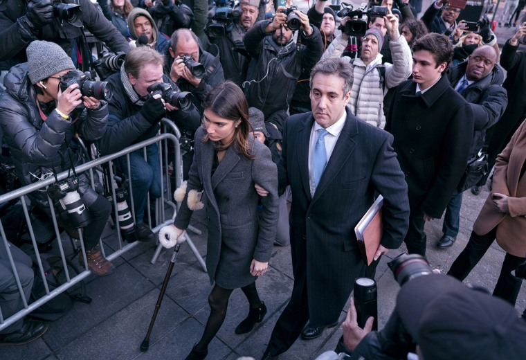 Michael Cohen, right, President Donald Trump's former lawyer, and his children, arrive at federal court