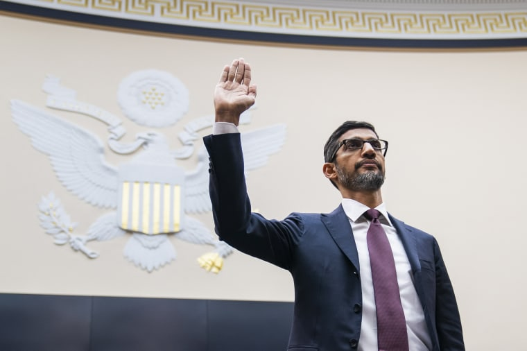 Image: Google CEO Sundar Pichai is sworn in before testifying to a House Judiciary Committee hearing in Washington on Dec. 11, 2018.