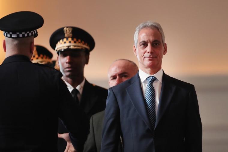 Image:  Chicago Mayor Rahm Emanuel attends a police graduation ceremony in Chicago on Nov. 19, 2018.