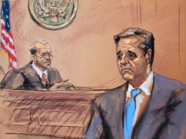 Image: Michael Cohen speaks during his sentencing hearing as Judge William Pauley looks on in federal court in New York on Dec. 12, 2018.