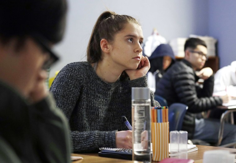 Image: Senior Hazel Ostrowski attends her  AP statistics class at Franklin High School in Seattle on Dec. 12, 2018.