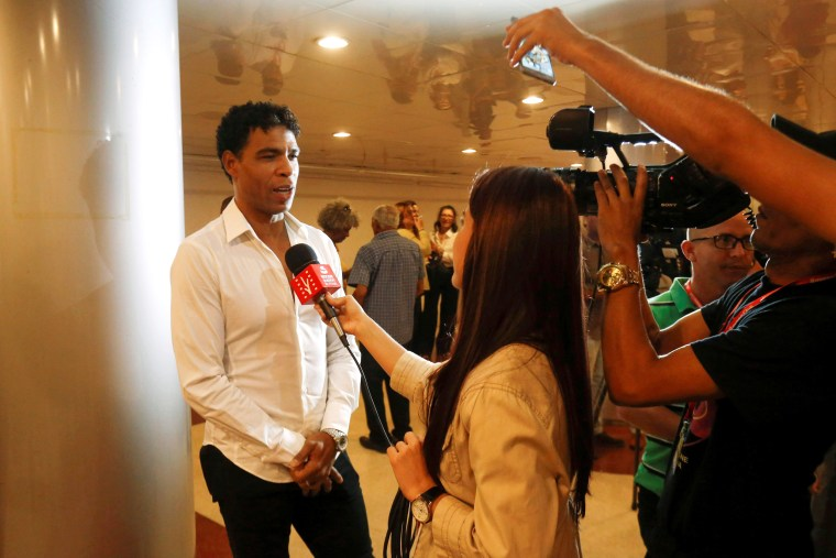 "Image: Cuban dancer Carlos Acosta gives an interview as he attends the film premiere for ""Yuli"", a biopic about his life, during Havana's International Film Festival in Havana on Dec. 7, 2018."
