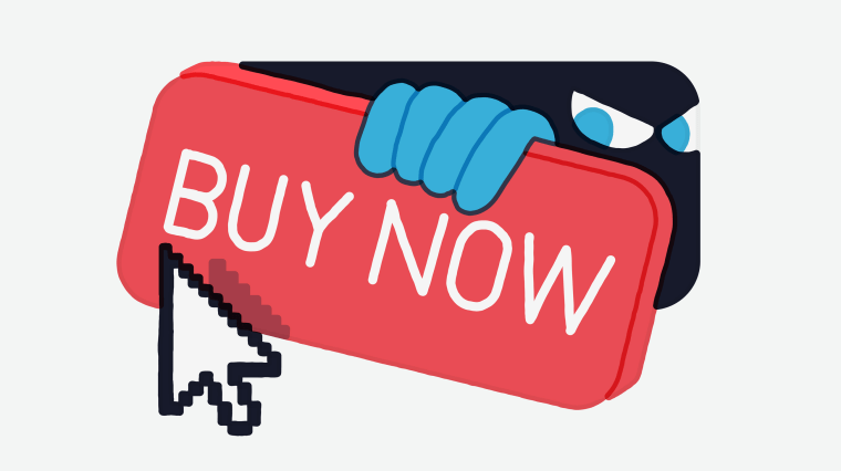 Illustration of a mysterious figure peaking out from behind a buy now button