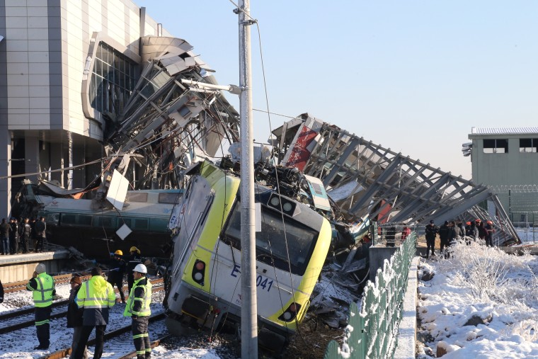 Image: The high-speed train derailed while traveling from Ankara to Turkey's Konya province