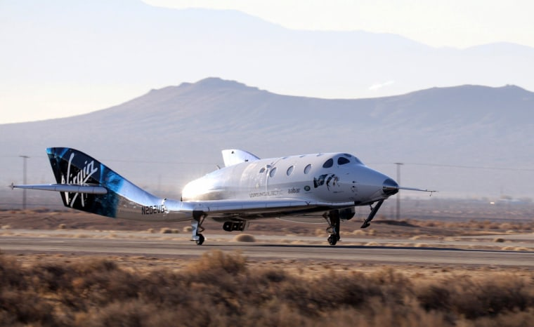 Image: Virgin Galactic's SpaceShipTwo lands at Mojave Air and Space Port after returning from a space test flight in Mojave, California, on Dec. 13, 2018.