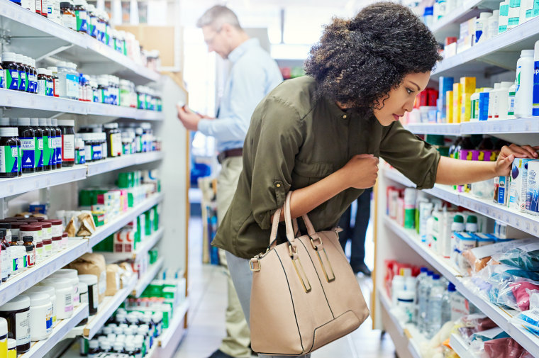 A customer in a pharmacy