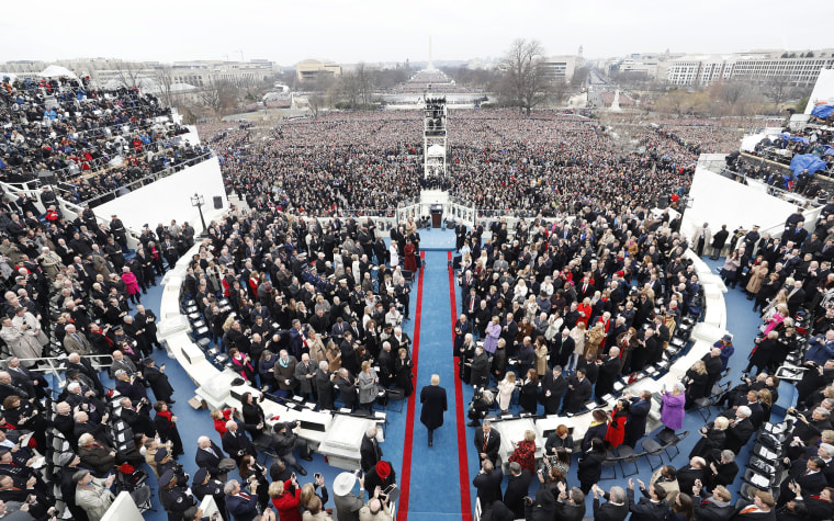 Image: Donald Trump arrives to be sworn in as the 45th President of the United States in Washington on Jan. 20, 2017.