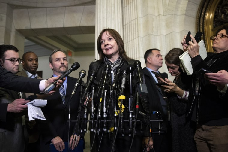 Image: General Motors CEO Mary Barra speaks to reporters after a meeting on Capitol Hill on Dec. 5, 2018.
