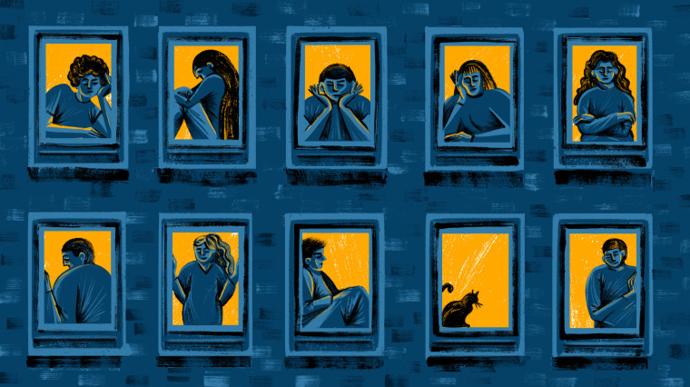 Illustration of lonely looking people inside windows of a building