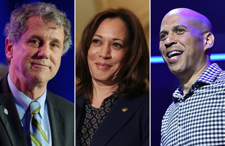 Sherrod Brown, Kamala Harris and Cory Booker.