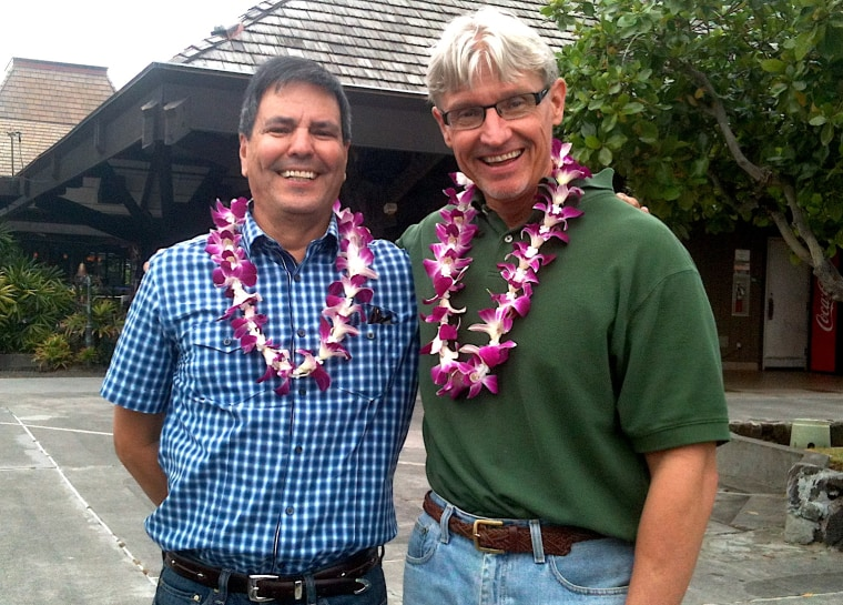 Anthony Gonzales, left, and his late husband, Mark Johnson, in Hawaii in 2012.