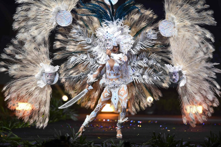 Marisela de Montecristo, Miss El Salvador 2018 walks on stage during the Miss Universe national costume presentation