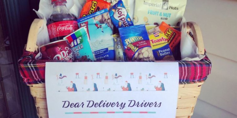 Online shoppers are spreading Christmas cheer with thank you notes for delivery drivers