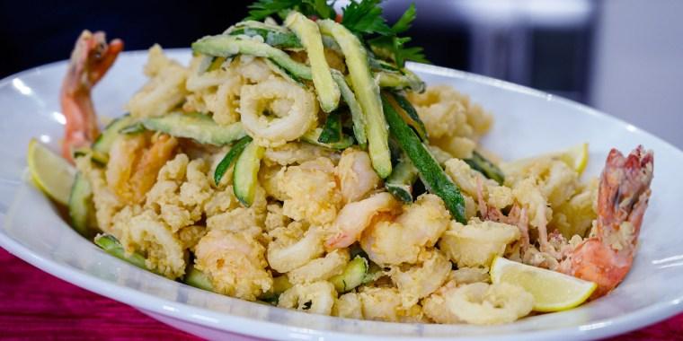 Anthony & Elaina Scotto's Fried Veggies + Marinated Seafood Salad + Spaghetti Shrimp Fra Diavolo + Fish Soup + Baccala alla Livornese + Baked Clams Oreganata + Struffoli