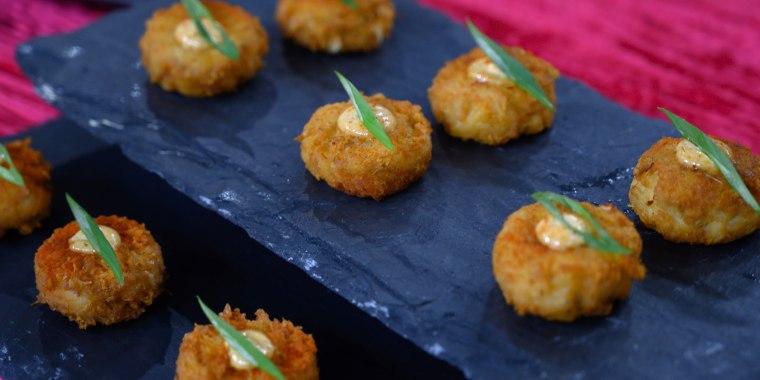 Brian Malarkey's Shrimp Cocktail + Italian Meatballs + Crab Cake