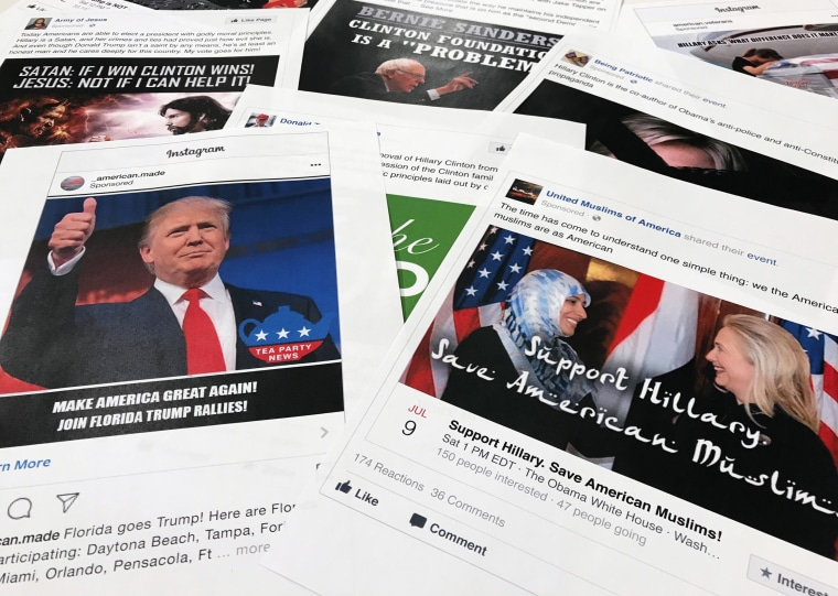 Image: Some of the Facebook and Instagram ads linked to a Russian effort to disrupt the American political process