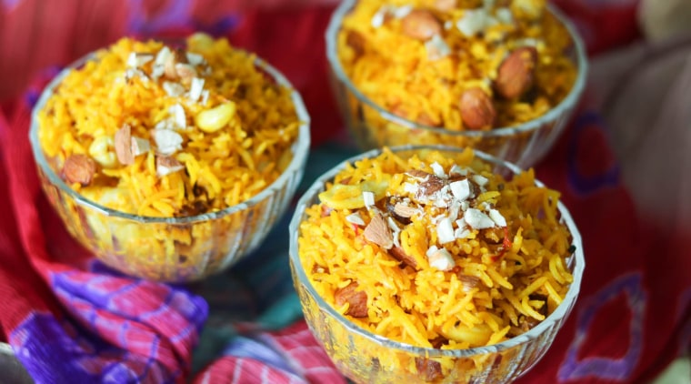No South Asian feast is complete without a rice dish like zarda, a sweet yellow rice with nuts and dried fruits.