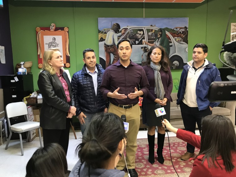 Democrat Rep. Joaquin Castro, chairman of the Congressional Hispanic Caucus, (center), discusses the death of a young girl who was in CBP custody. Also shown are Reps. Sylvia Garcia of Texas, Ben Ray Lujan of New Mexico, Rep-elect Veronica Escobar of Texas, and Rep. Raul Ruiz of California.