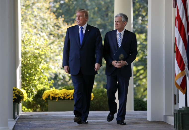 Image: President Donald Trump walks with Jerome Powell before announcing him as nominee for chair of the Federal Reserve at the White House on Nov. 2, 2017.