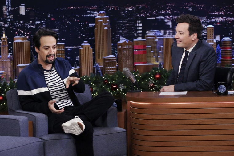 Lin-Manuel Miranda during an interview with host Jimmy Fallon