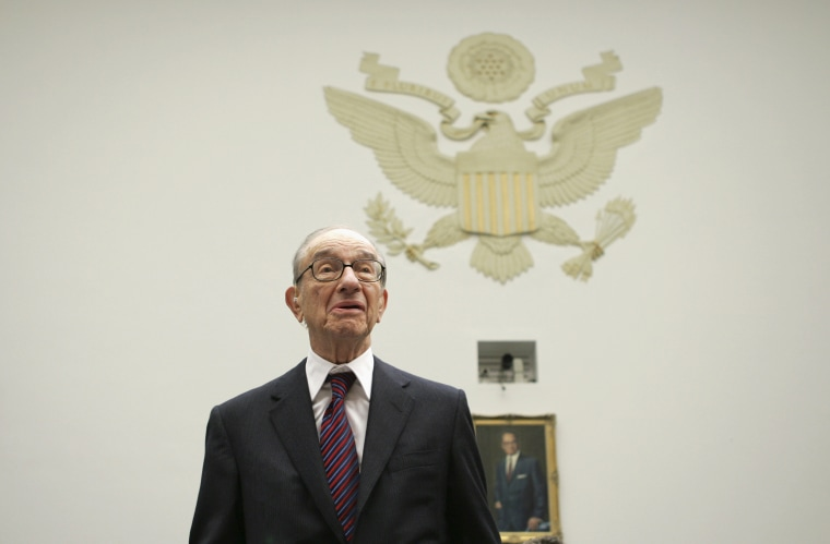Image: Former Federal Reserve Chairman Alan Greenspan arrives for a hearing on Capitol Hill in 2008.