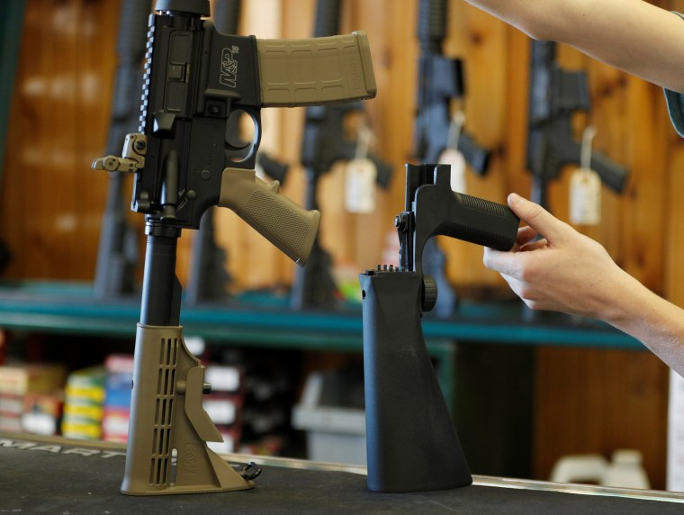 Image: A bump stock that attaches to an semi-automatic assault rifle to increase the firing rate is seen at Good Guys Gun Shop in Orem, Utah, on Oct. 4, 2017.