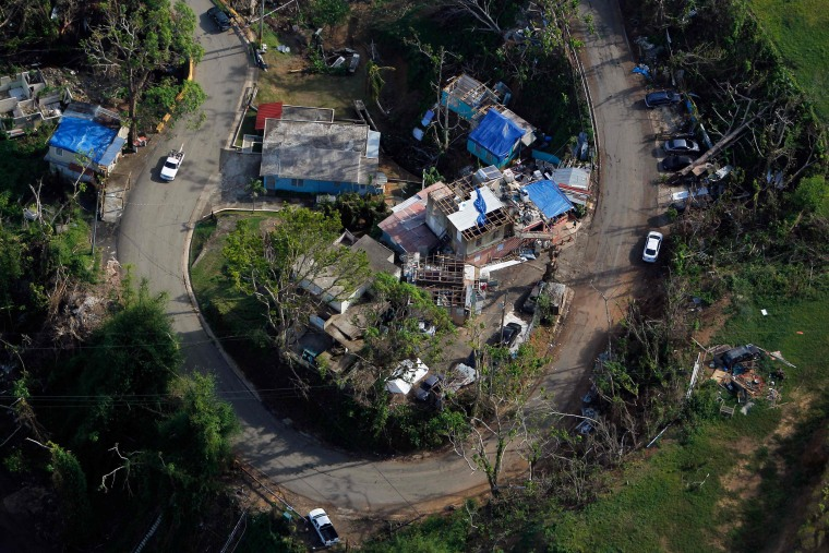 Image: Houses damaged by Hurricane Maria in Naranjito, Puerto Rico, on Oct. 23, 2017.