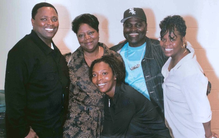 Image: Edward Douglas, far left, with family before he was sent to prison.