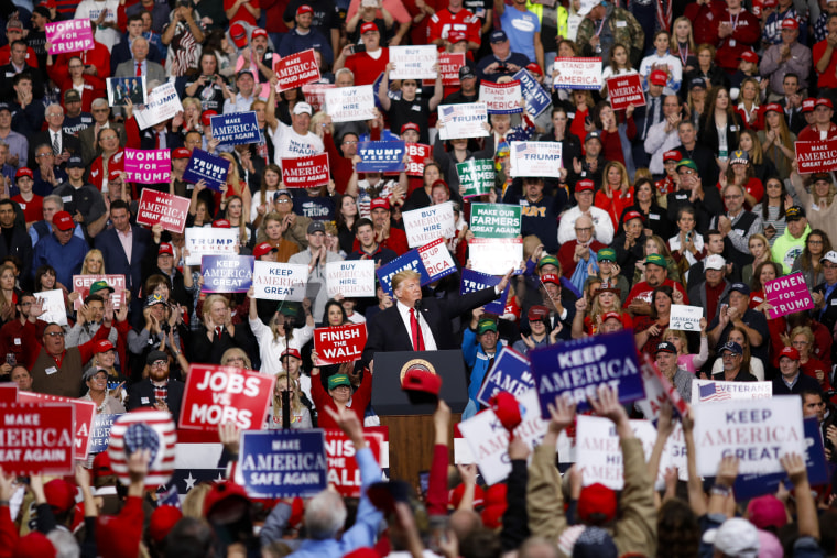 Image: President Donald Trump speaks during a rally in Indianapolis on Nov. 2, 2018.