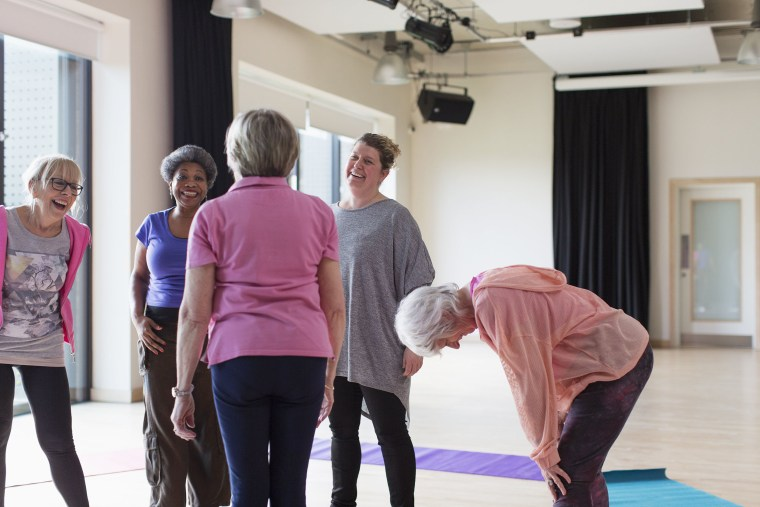 Image: Active seniors talking after exercise class