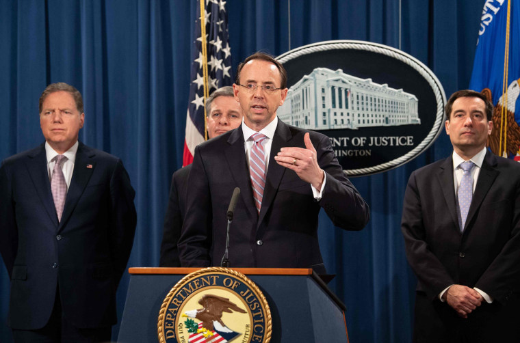 Image: Deputy Attorney General Rod Rosenstein speaks at a press conference about Chinese hacking at the Justice Department in Washington on Dec. 20, 2018.