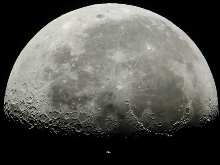 Image: Space Station passes in front of the Moon