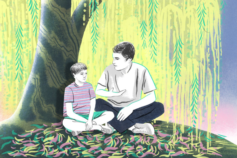 Illustration of an adult talking to a kid
