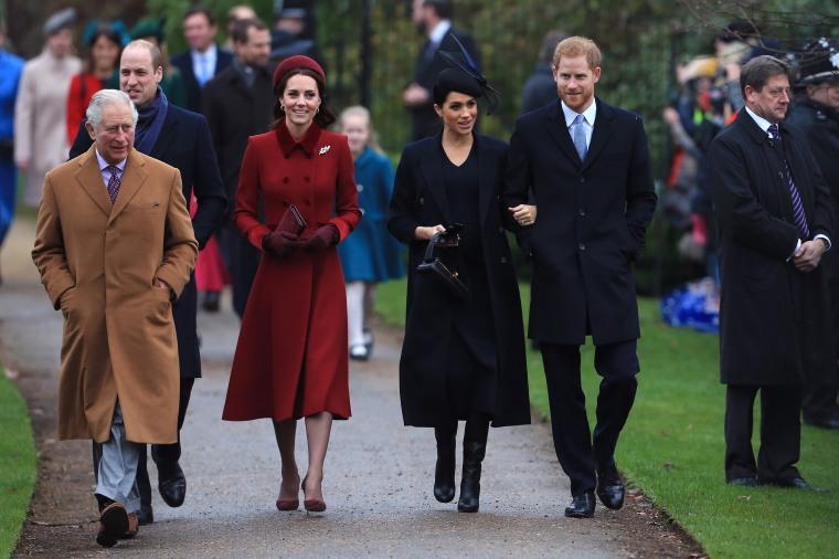 Royal Family Christmas.Kate Middleton Meghan Markle Prince William And Prince
