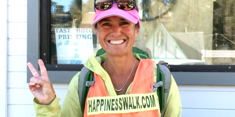 Paula Francis, who is doing a cross country happiness walk.