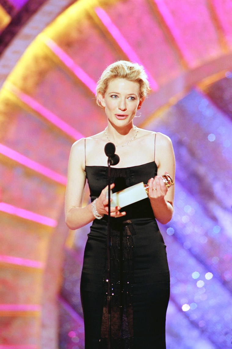 "56TH ANNUAL GOLDEN GLOBE AWARDS -- Pictured: Cate Blanchett, Best Actress In A Leading Role - Drama for ""Elizabeth"" on stage during the 56th Annual Golden Globe Awards held at the Beverly Hilton Hotel on January 24, 1999  (Photo by NBC/NBCU Photo Bank via Getty Images)"