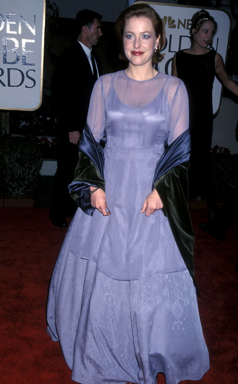 BEVERLY HILLS, CA - JANUARY 24:   Actress Gillian Anderson attends the 56th Annual Golden Globe Awards on January 24, 1999 at the Beverly Hilton Hotel in Beverly Hills, California. (Photo by Ron Galella, Ltd./WireImage)