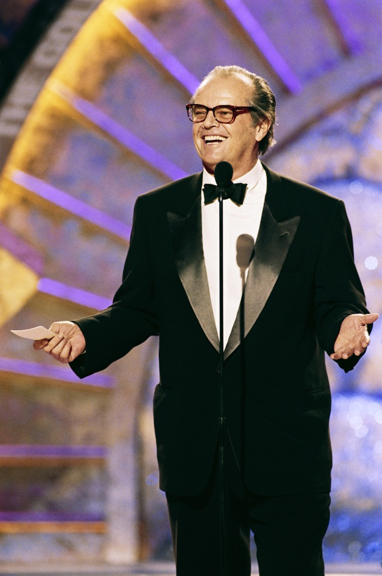 56TH ANNUAL GOLDEN GLOBE AWARDS -- Pictured: Jack Nicholson, accepting the Cecil B. DeMille Award for lifetime achievement in motion pictures on stage during the 56th Annual Golden Globe Awards held at the Beverly Hilton Hotel on January 24, 1999  (Photo by NBC/NBCU Photo Bank via Getty Images)