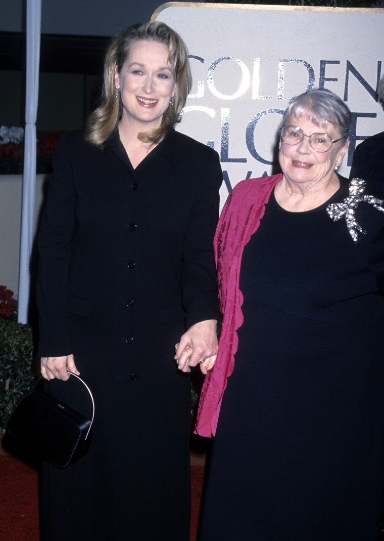 BEVERLY HILLS, CA - JANUARY 24:   Actress Meryl Streep and mother Mary Wilkinson attend the 56th Annual Golden Globe Awards on January 24, 1999 at the Beverly Hilton Hotel in Beverly Hills, California. (Photo by Ron Galella, Ltd./WireImage)