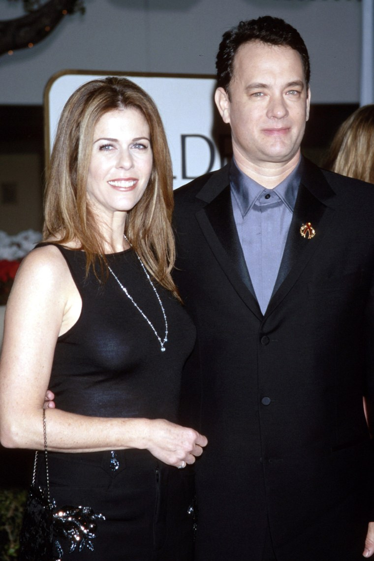 Rita Wilson and Tom Hanks during The 56th Annual Golden Globe Awards - Red Carpet at Beverly Hilton Hotel in Beverly Hills, California, United States. (Photo by KMazur/WireImage)